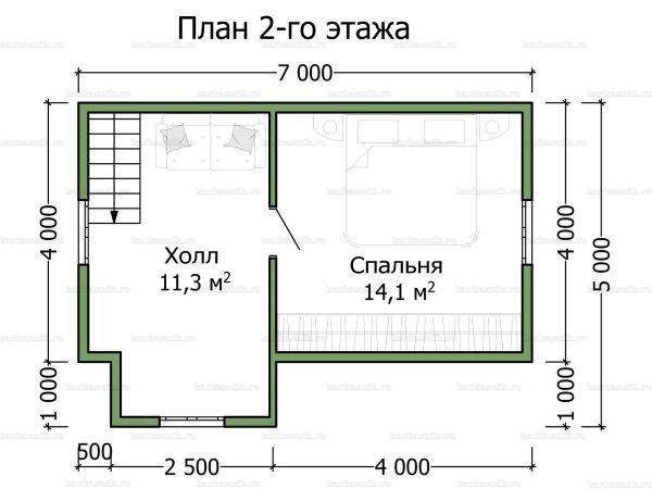 План второго этажа дома с мансардой 7х6
