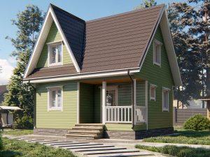 Каркасный дом с террасой и мансардой 7х6