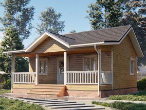 Дом с открытой верандой 8х8