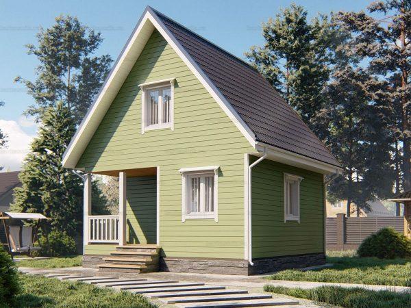 Дачный дом с двухскатной крышей 6х6