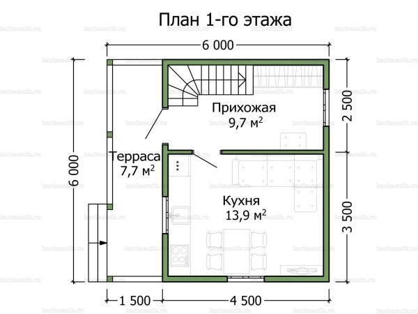 Схема планировки каркасного дома 6х6 в городе Солнечногорск