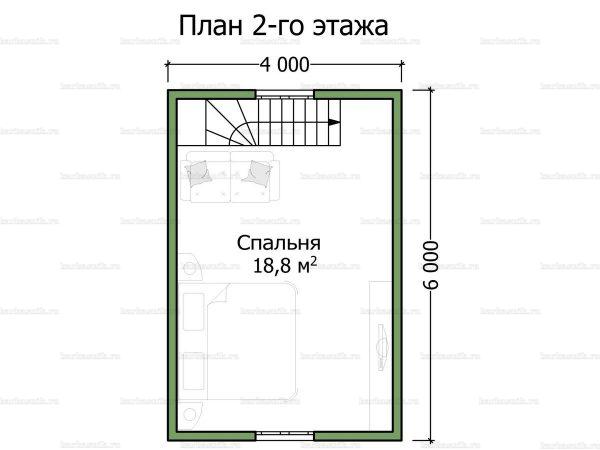 Схема планировки каркасного дома 6х6 в городе Солнечногорск (второй этаж)