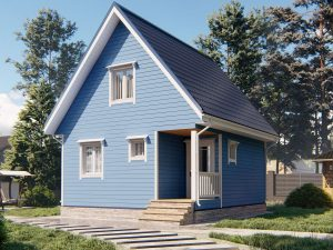 Теплый каркасный дом 7х6