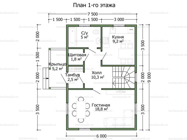 Планировка дома с мансардой 9х6