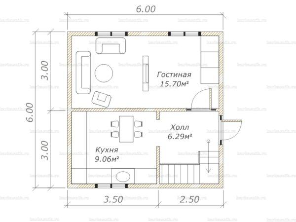 Планировка дома с мансардой 6х6