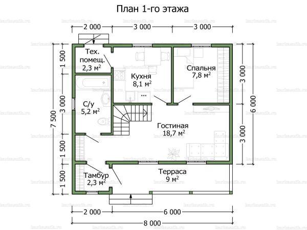 Планировка дома с мансардой 8х7.5