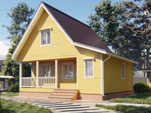 Большой каркасный дом 8х7.5