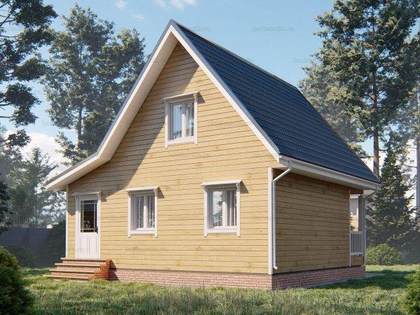 Проект деревянного коттеджа 8х7.5 из бруса для постоянного проживания зимой