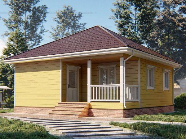 Дом для проживания с вальмовой крышей 8х8