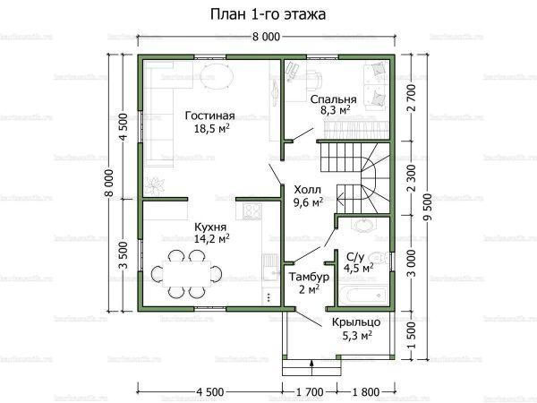 Планировка дома с мансардой двухэтажного дома 8х8
