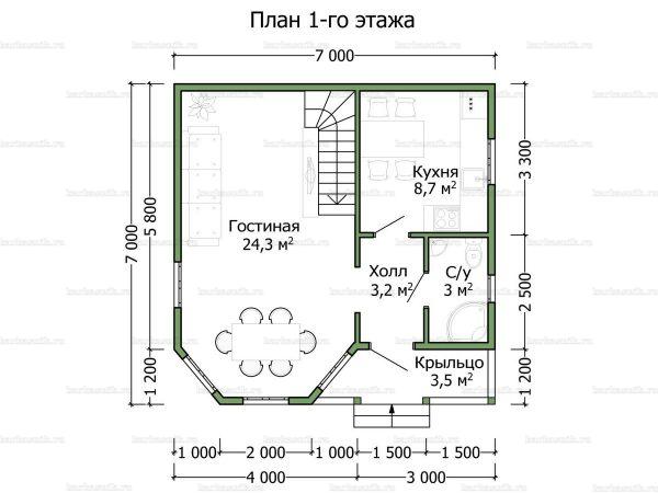 Планировка дома с мансардой 7х7