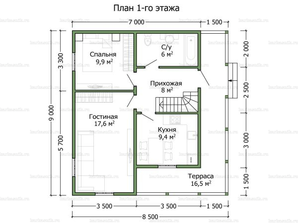Планировка дома с мансардой 9х8.5