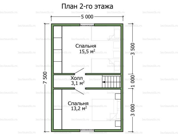 План второго этажа дома с мансардой 9х8.5