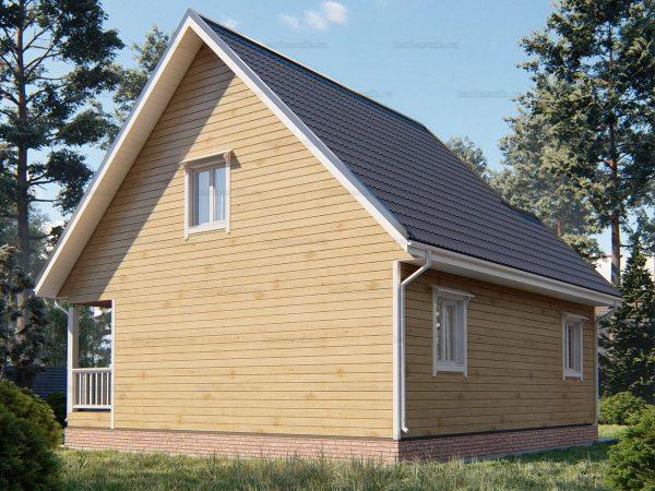 Проект деревянного коттеджа 9х8.5 из бруса для постоянного проживания зимой