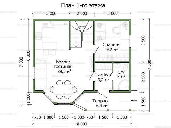 Планировка дома с мансардой двухэтажного дома 8х7.5