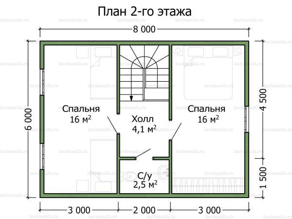 План второго этажа дома с мансардой двухэтажного дома 8х7.5