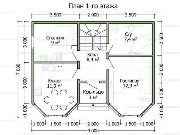 Планировка двухэтажного дома 9х7
