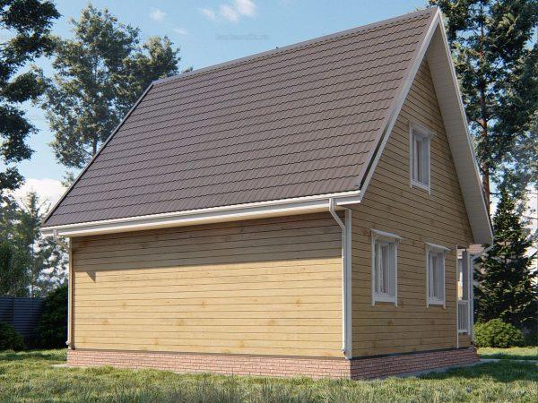 Проект деревянного коттеджа 8х7 из бруса для постоянного проживания зимой