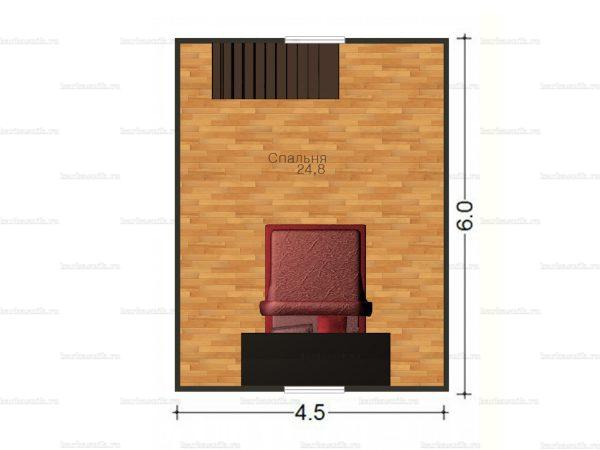 План второго этажа дома с мансардой 6х6