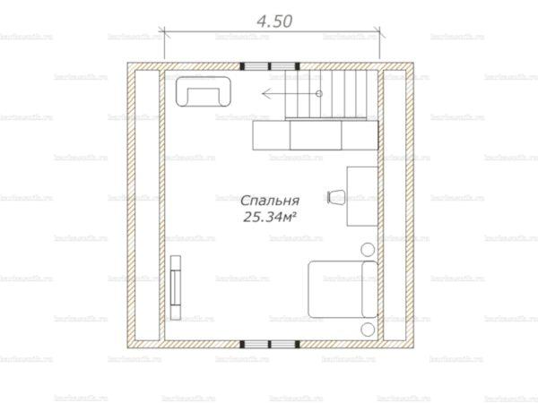 План второго этажа дома с мансардой 8х6