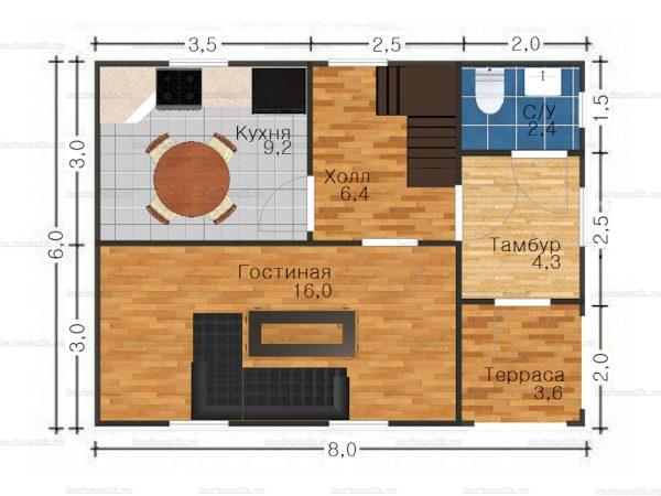 Планировка двухэтажного дома 8х6
