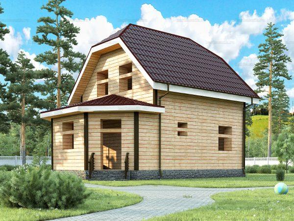 Проект деревянного коттеджа 8.5х6 из бруса для постоянного проживания зимой