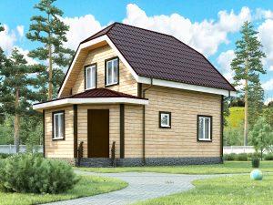 Каркасный дом с верандой 8.5х6
