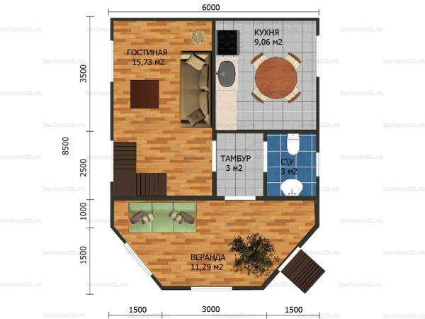 Планировка двухэтажного дома 8.5х6