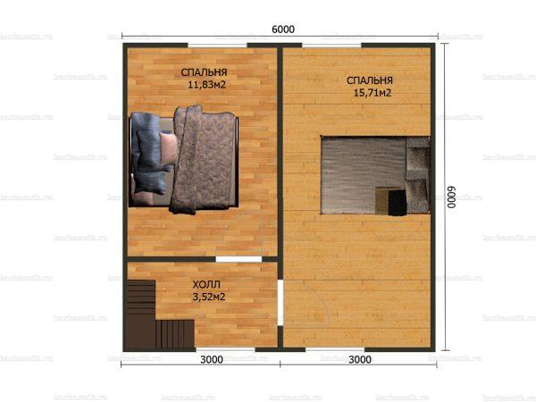 План второго этажа двухэтажного дома 8.5х6