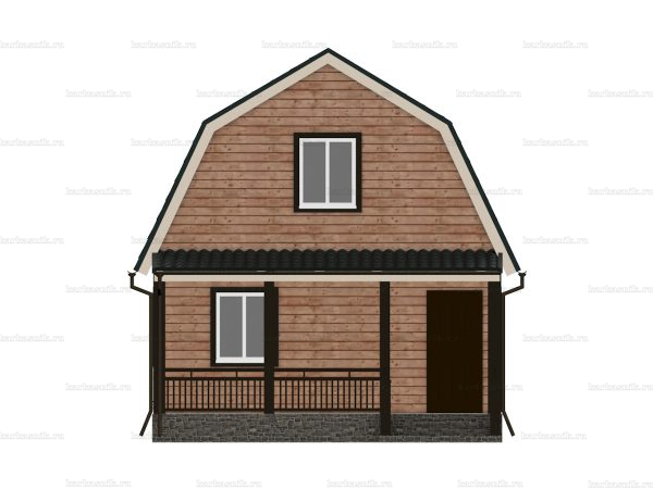Дом из бруса с открытой верандой 7.5х6 фото 3