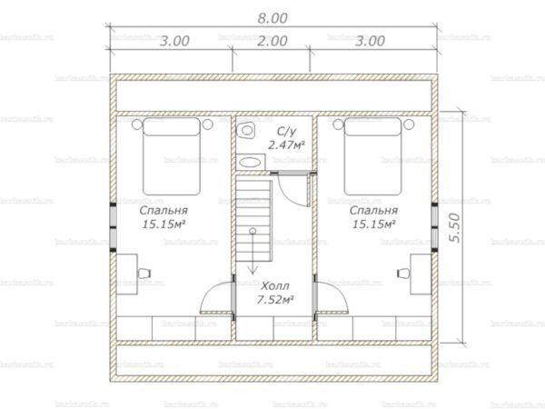 План второго этажа дома с мансардой 8х7.5