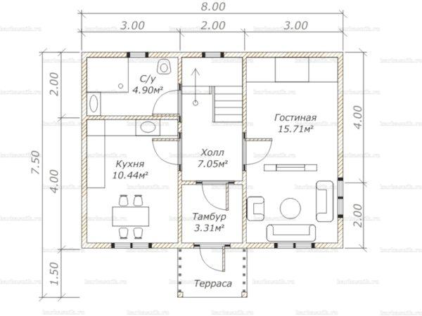 Планировка дома с мансардой двухэтажного дома 8х6