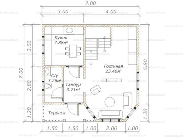 Планировка двухэтажного дома 7х7