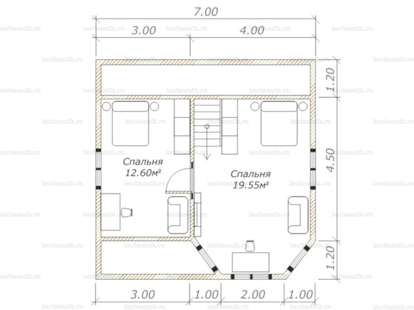 План второго этажа двухэтажного дома 7х7