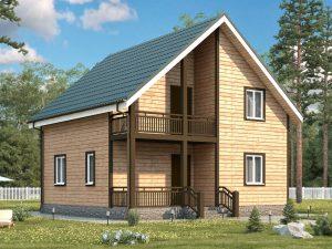Каркасный дом с четыремя комнатами 8х8