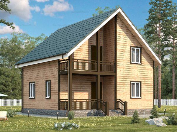 3D-проект каркасного дома 8х8