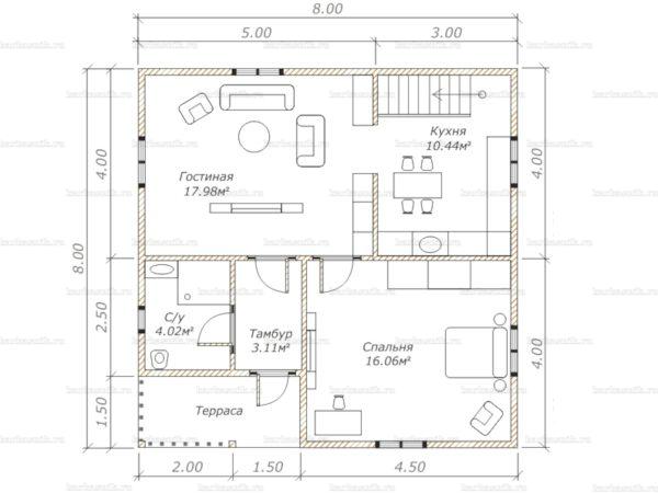 Планировка двухэтажного дома 8х8