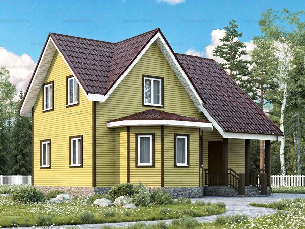 Каркасный дом с пятью комнатами 9х8