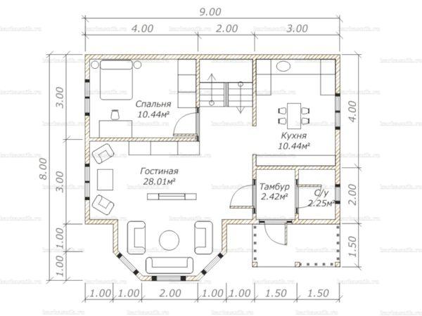 Планировка дома с мансардой двухэтажного дома 9х8