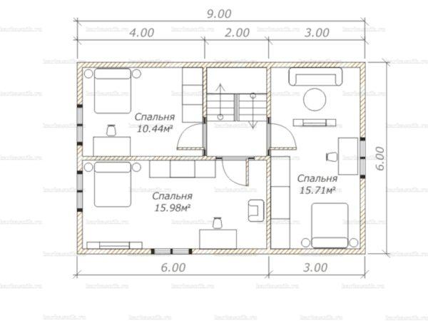 План второго этажа дома с мансардой двухэтажного дома 9х8