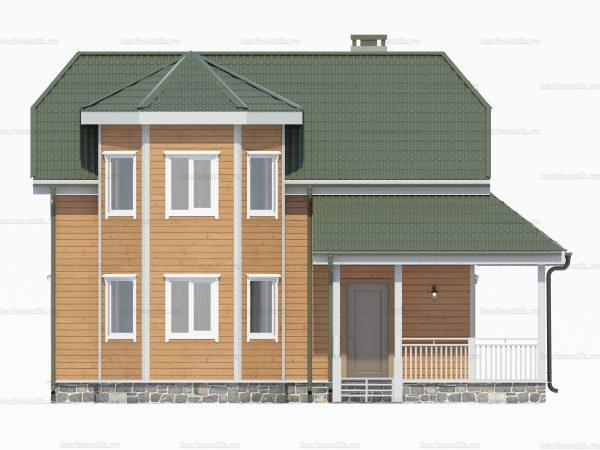 Проект деревянного коттеджа 9х8 из бруса для постоянного проживания зимой
