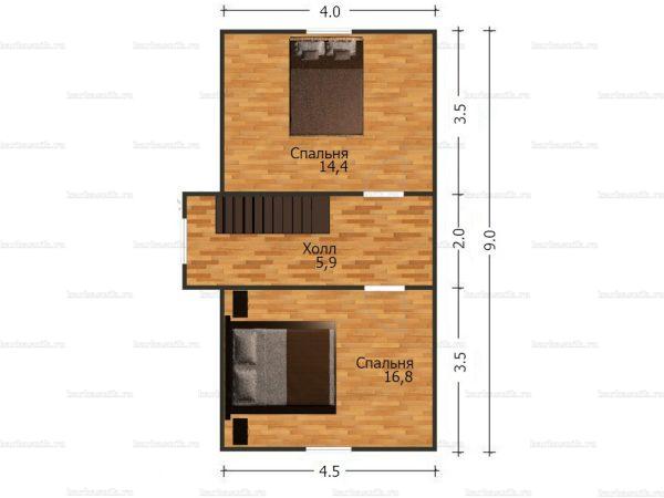 План второго этажа дома с мансардой 9х6