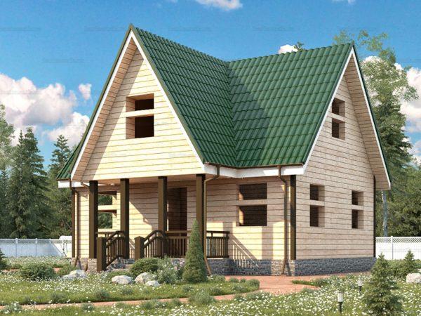 Проект деревянного коттеджа 8х6 из бруса для постоянного проживания зимой