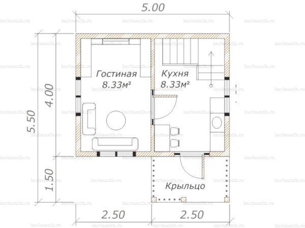 Планировка дома с мансардой 5х4