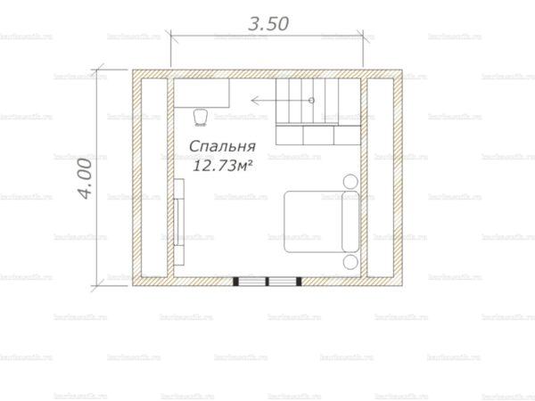 План второго этажа дома с мансардой 5х4