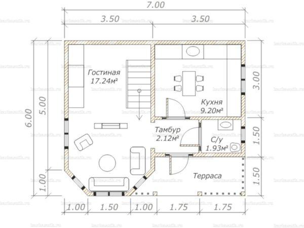 Планировка двухэтажного дома 7х6
