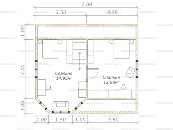 План второго этажа двухэтажного дома 7х6
