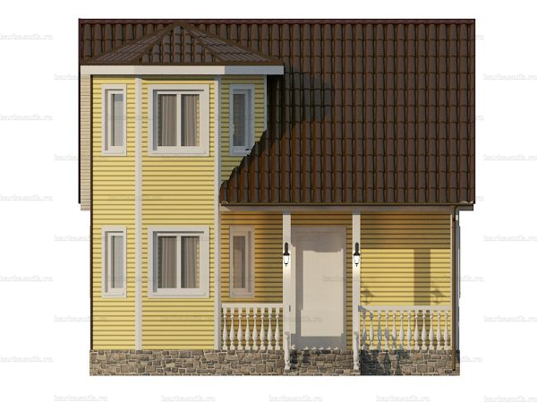 Каркасный коттедж с двухскатной крышей 7х6 фото 6