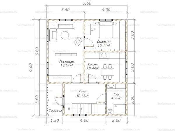Планировка дома с мансардой 9х7.5