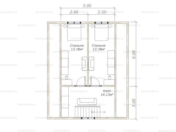 План второго этажа дома с мансардой 9х7.5